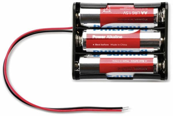 Batteriehalter für 3 Mignon, AA, mit Anschlußkabel - Produktbild 3