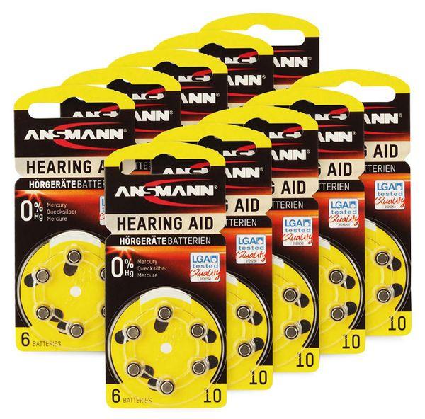 Hörgeräte-Batterie, ANSMANN, HEARING AID, PR70, Größe 10, 60 Stück