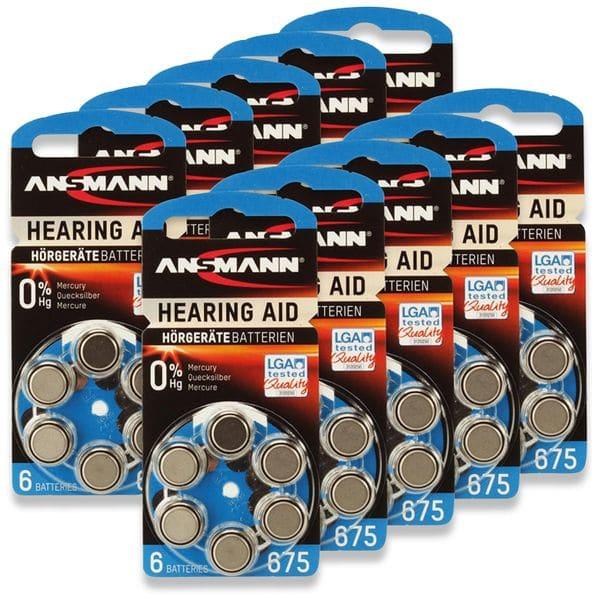 Hörgeräte-Batterie, ANSMANN, HEARING AID, PR44, Größe 675, 60 Stück