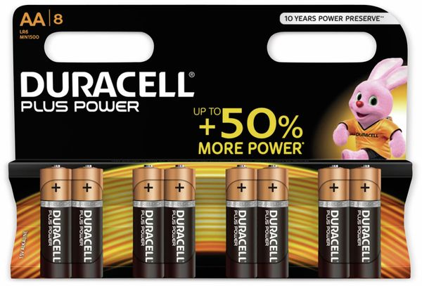 Mignon-Batterien DURACELL PLUS POWER, 8 Stück