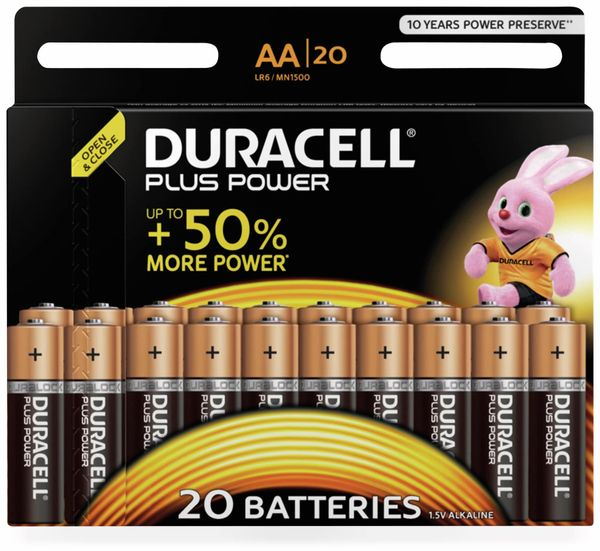 Mignon-Batterien DURACELL PLUS POWER, 20 Stück