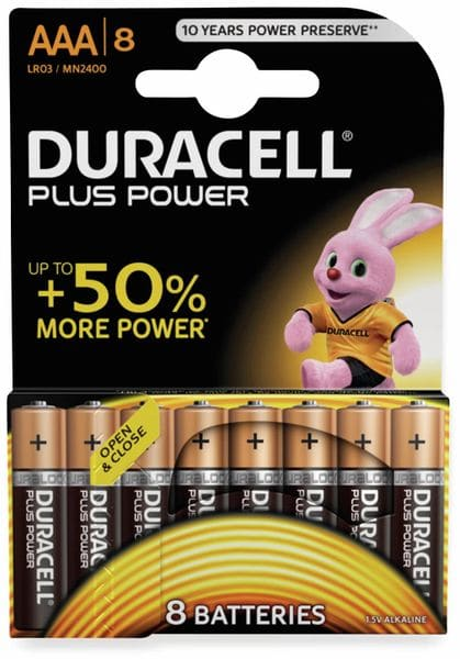 Micro-Batterien DURACELL PLUS POWER, 8 Stück