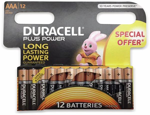Micro-Batterien DURACELL PLUS POWER, 12 Stück