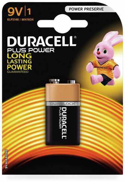 9V-Blockbatterie DURACELL PLUS POWER, 1 Stück