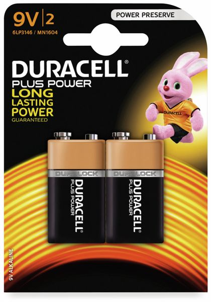 9V-Blockbatterie DURACELL PLUS POWER, 2 Stück