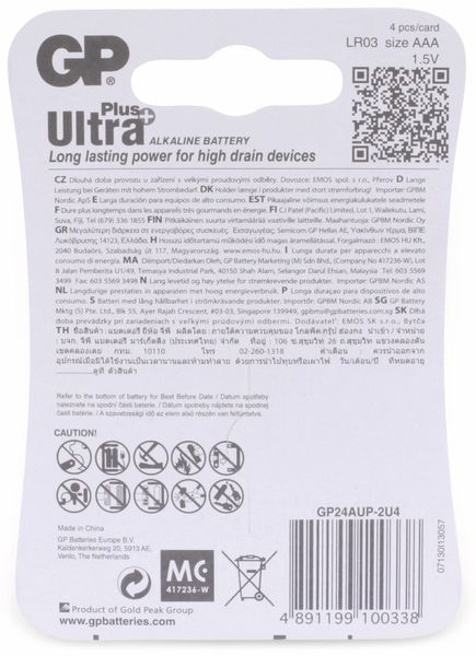 Micro-Batterien GP ULTRA PLUS ALKALINE, 4 Stück - Produktbild 6