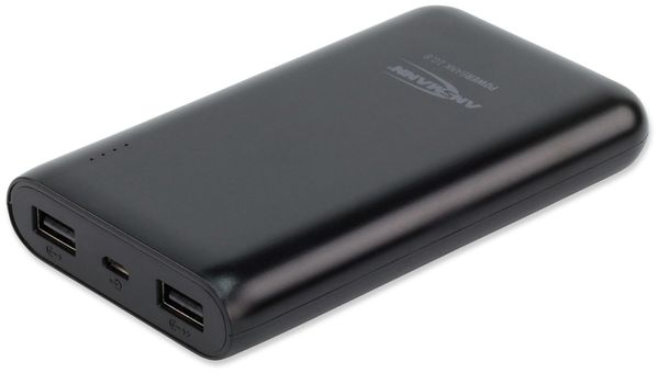 USB Powerbank, ANSMANN, Pb10.8, 10000mA, schwarz, 2x USB Port - Produktbild 1