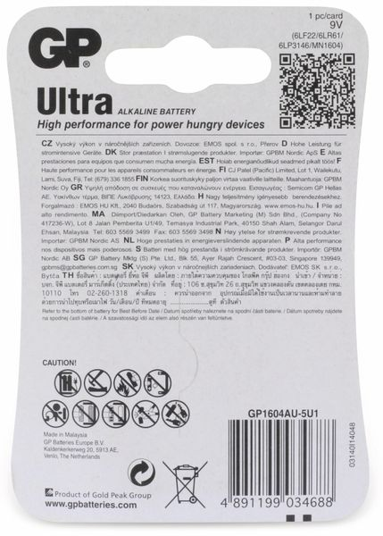 9V-Blockbatterie GP ULTRA ALKALINE, 1 Stück - Produktbild 5