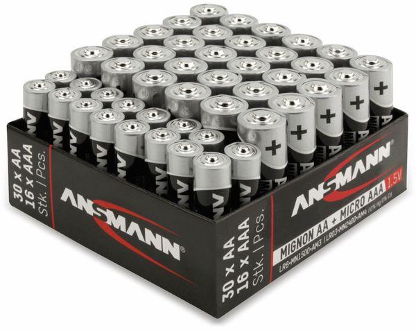 Batterie-Set, ANSMANN, Alkaline, 30x AA, 16x AAA, 46 Stück - Produktbild 2