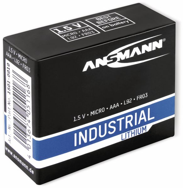 Lithium-Batterie, ANSMANN, INDUSTRIAL, Micro, 10 Stück - Produktbild 2