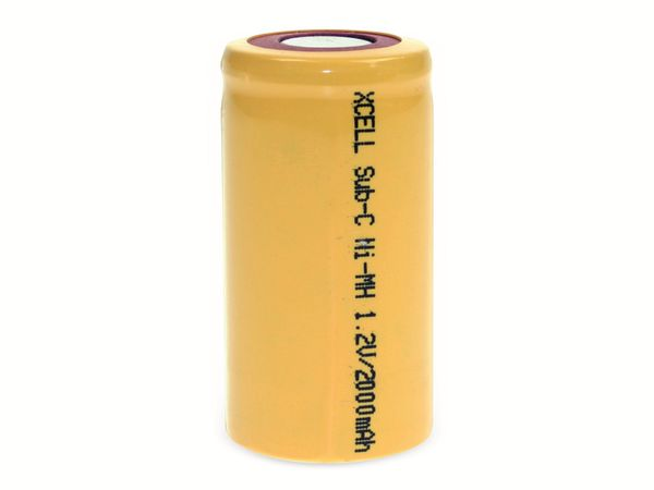 Sub-C-Zelle, XCELL, NiMH, 1,2V/2000mAh, 43x22,5mm - Produktbild 2