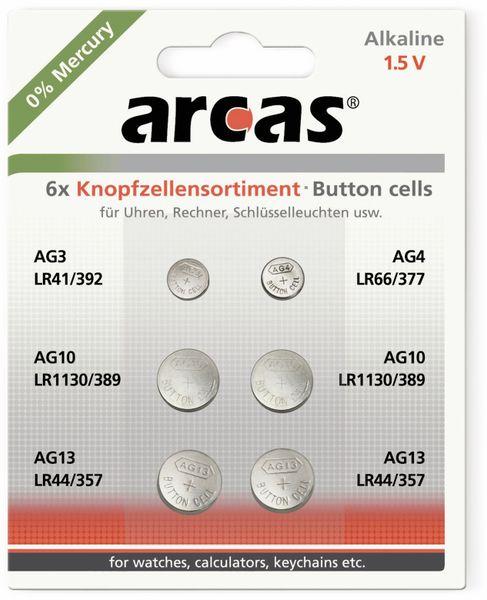 Knopfzellen-Set, ARCAS, AG3, AG4, AG10, AG13, 6-teilig