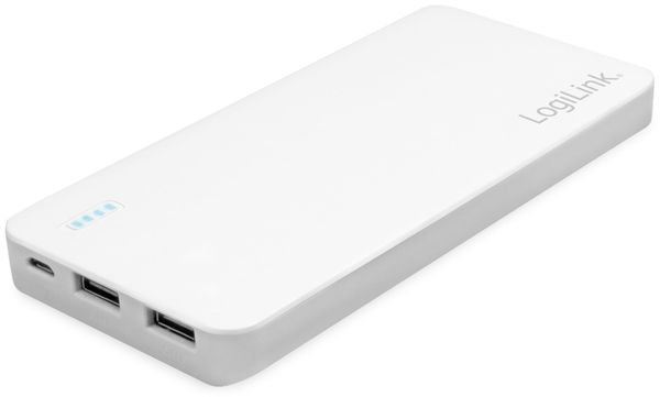USB Powerbank LogiLink PA0190, 10000 mAh, weiß, 2x USB Ausgang