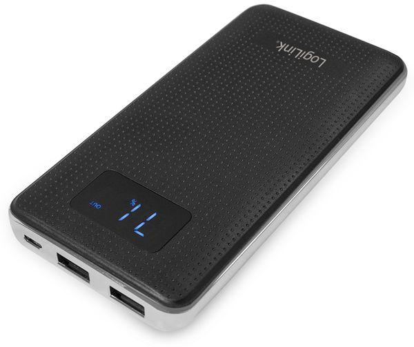 USB Powerbank LogiLink PA0154, 10000 mAh, schwarz/silber, 2x USB Port