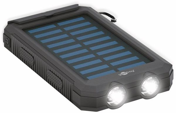 USB Powerbank Outdoor Solar, 8000 mAh, schwarz, GOOBAY 49216 - Produktbild 4