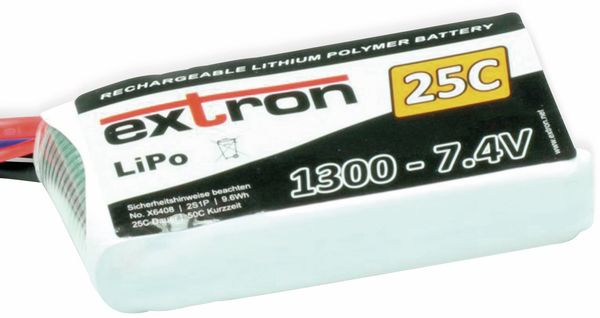 Modellbau-Akkupack EXTRON X2, LiPo, 7,4 V-/1300 mAh, 25C