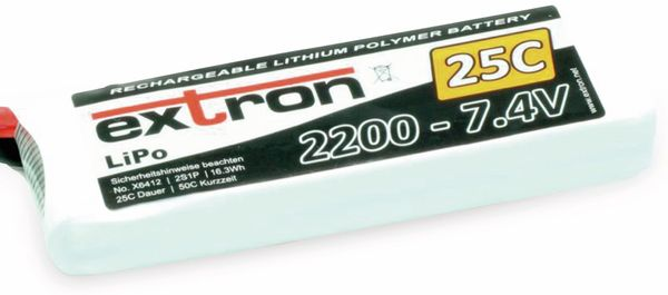EXTRON LiPo-Akku X2, 7,4V-/2200mAh