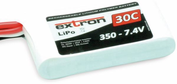 Modellbau-Akkupack EXTRON X2, LiPo, 7,4 V-/350 mAh, 30C/60C