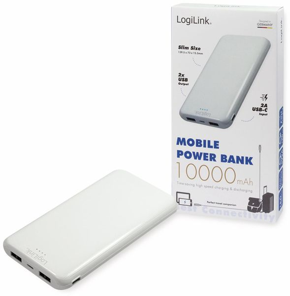 USB Powerbank LOGILINK PA0206W, 10000mAh, LiPo, weiss, 2x USB Ausgang - Produktbild 6