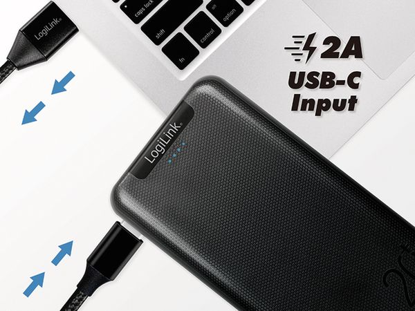 USB Powerbank LOGILINK PA0216, 20000mAh, LiPo, schwarz, 2x USB Ausgang - Produktbild 6