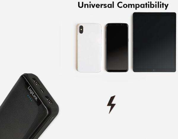 USB Powerbank LOGILINK PA0216, 20000mAh, LiPo, schwarz, 2x USB Ausgang - Produktbild 8