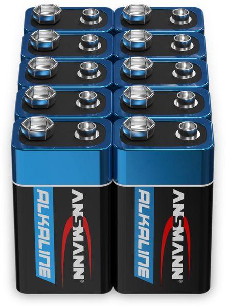 9V-Blockbatterien-Set, ANSMANN ALKALINE, 10 Stück