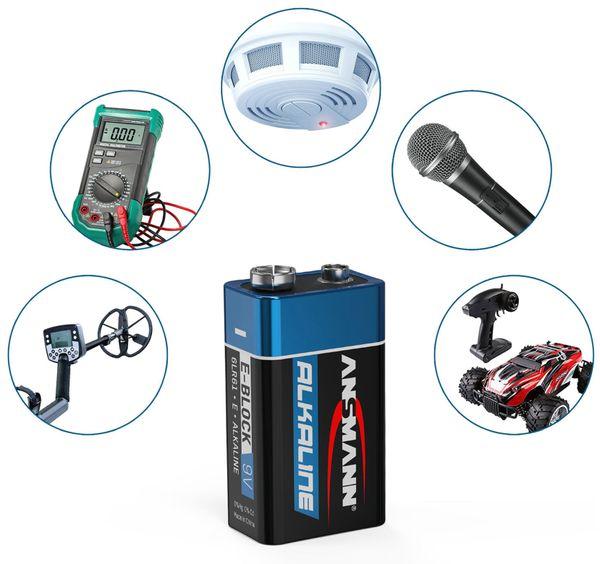 9V-Blockbatterien-Set, ANSMANN ALKALINE, 10 Stück - Produktbild 3