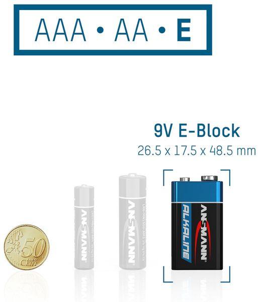 9V-Blockbatterien-Set, ANSMANN ALKALINE, 10 Stück - Produktbild 4