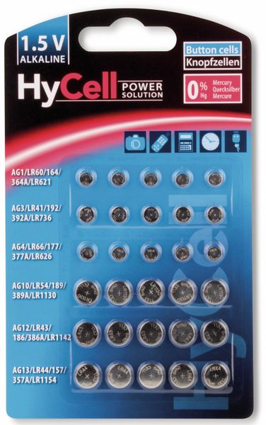 Knopfzelle HYCELL Set 30-teilig
