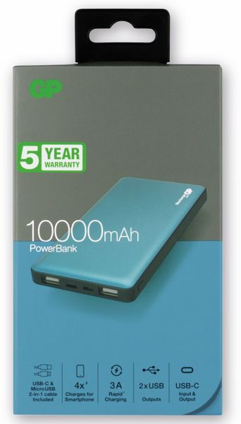 USB Powerbank GP MP10MA, 10.000 mAh, grünblau - Produktbild 4