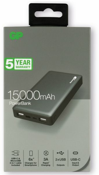 USB Powerbank GP MP15MA, 15.000 mAh, grau - Produktbild 5