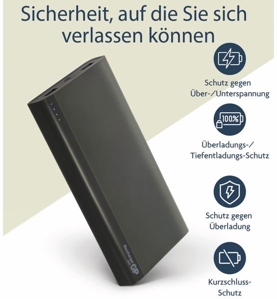 USB Powerbank GP B20A, 20.000 mAh, grau - Produktbild 11