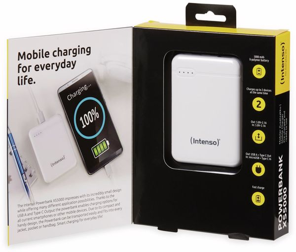 USB Powerbank INTENSO 7313522 XS 5000, 5.000 mAh, weiß - Produktbild 6