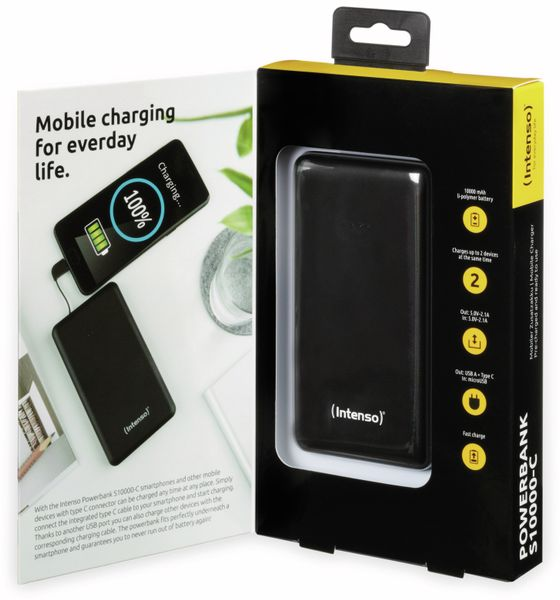 USB Powerbank INTENSO 7332630 S10000-C, 10.000 mAh, schwarz - Produktbild 5