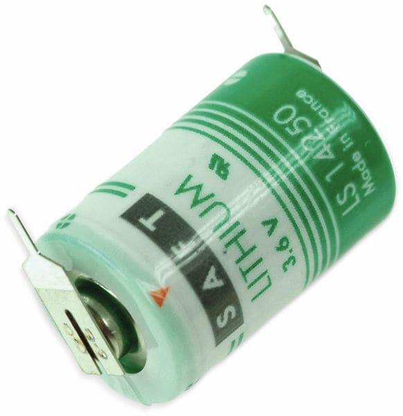 Lithium-Batterie SAFT LS 14250-2PF, 1/2 AA, 1/1 Print +/-, 3,6 V-, 1200 mAh