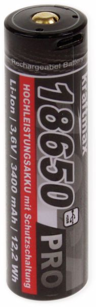 LiIon-Akku KRAFTMAX, Pro 18650-3400, 3,6 V-, 3400 mAh