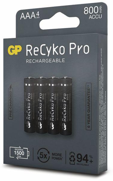 NiMH-Micro-Akku GP ReCyko+ Pro, 800 mAh, 4 Stück - Produktbild 6