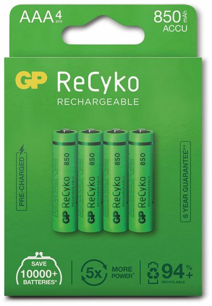 NiMH-Micro-Akku GP ReCyko+, 850 mAh, 4 Stück - Produktbild 5