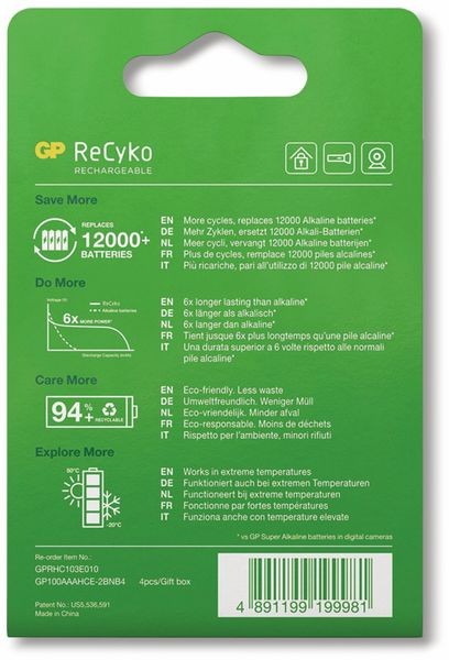NiMH-Micro-Akku GP ReCyko+, 950 mAh, 4 Stück - Produktbild 7
