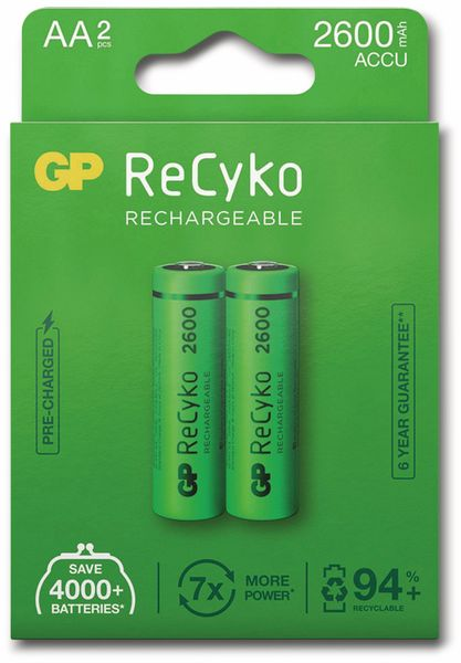 NiMH-Mignon-Akku GP ReCyko+, 2600 mAh, 2 Stück - Produktbild 6