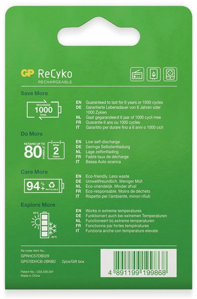 NiMH-Mono-Akku GP ReCyko+, 5700 mAh, 2 Stück - Produktbild 5