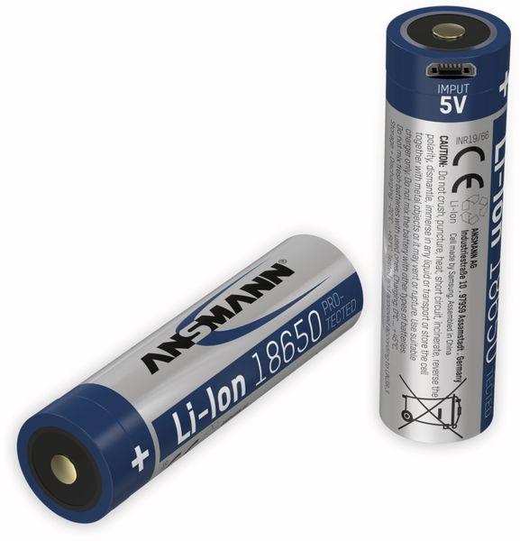LiIon-Akku ANSMANN 1307-0003, 18650, 3,6 V-, 3400 mAh, Micro-USB Buchse