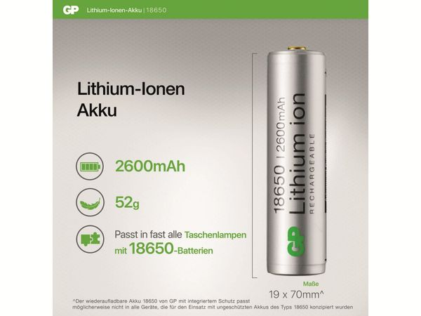 LiIon-Akku GP 14018650B1, 3,7V, 2,6 Ah - Produktbild 6