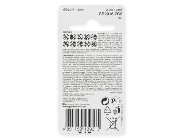 Knopfzelle, GP, CR2016, Lithium, 3 V, 2 St. - Produktbild 7