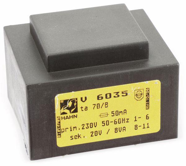 Printtrafo, HAHN, V6035, 230V/20V, 8VA - Produktbild 1