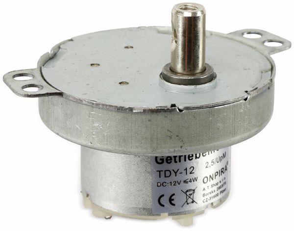 Getriebemotor TDY-12, 12V-, 2,5U/min, Ø 50mm, Welle 7x12mm