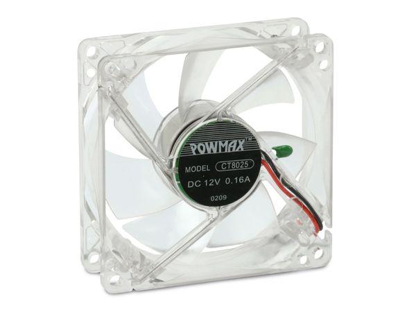 PC-Gehäuselüfter mit LED-Beleuchtung, 80x80x25 mm, 12 V- - Produktbild 1