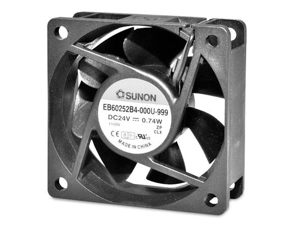 Axiallüfter SUNON EB60252S1-999, 60x60x25 mm, 24 V-