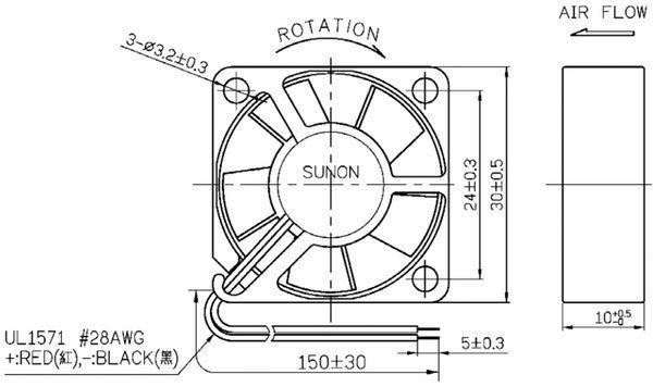 Axiallüfter SUNON MF25100V21000UA99, 25x25x10 mm, 5 V- - Produktbild 3