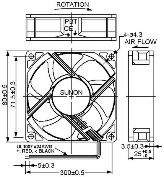 Axiallüfter SUNON HA80251V41000UA99, 80x80x25 mm, 12 V- - Produktbild 2